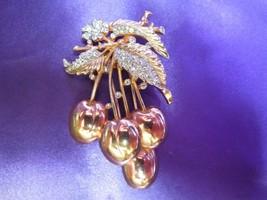 Alfred Philippe Crown Trifari Rose Yellow Gold Tone Cherry Brooch Pin Fu... - $521.37