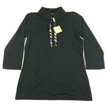NEW Burberry London Shirt Womens M Black Button Neck 3/4 Sleeves Nova Check - $121.54
