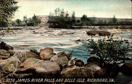 VINTAGE POSTCARD- JAMES RIVER FALLS & BELLE ISLE, RICHMOND, VA  (RPPC) BK22 - $3.92
