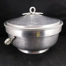 Brushed & Hammiered Vintage Aluminum Serving Covered Dish - Made In Ital... - $21.78
