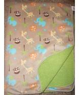 Just Born Baby Blanket Jungle Zoo Brown Green Sherpa Monkey Lion Giraffe... - $19.68
