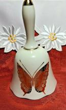 """Vintage Fenton White Porcelain Gold Butterfly Design 5"""" Tall Dinner Bell"""