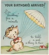 Vintage Birthday Card Cat Parachutes Skywriting Tradition House 1940's U... - $9.89