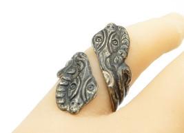 ASA MEXICO 925 Silver - Vintage Antique Snake Head Bypass Band Ring Sz 7... - $30.92