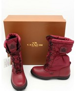 NIB Coach Sage Black Cherry Lace-Up Cold Weather Winter Boots New 6 36 - $185.00