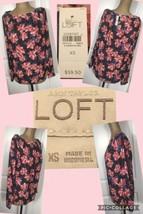 NEW! Ann Taylor LOFT TOP SZ XS Floral Long Sleeves Polyester Retail $59.... - $15.83