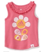 Adidas Baby Girls Sleeveless, Ruffle Neck Top, Pink Color, Sz.12 Months.NWT - $10.88