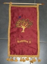Romans 11 Olive Tree Red Silk Satin Flag Banner Wall Hang Messianic Christian image 3