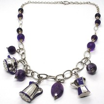 Necklace Silver 925, Amethyst, Mocha, Coffee, Teapot, Hanging Enamelled - $252.73