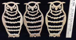Owl Birds Wall Hanging Ornaments Wooden Scroll Wood Set 3 Handmade Paint... - $16.82