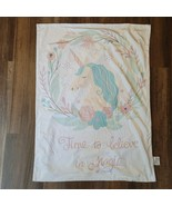 SL S L Home Fashions Baby Girl Blanket Time to Believe in Magic Unicorn Flowers - $59.39