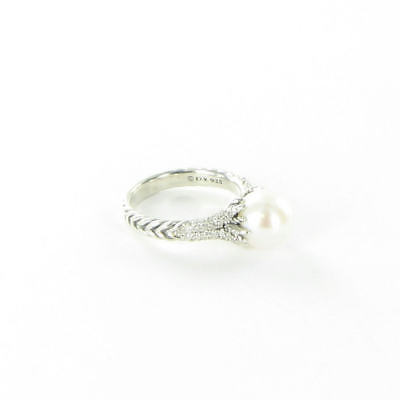 David Yurman Starburst Ring 10mm Pearl Diamond 0.30cts Sterling Sz 7 New $1400