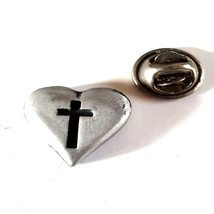 heart with cross british pewter Badge Lapel /tie Pin Badge 3d effect with clip