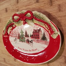 Vintage Christmas Dish, Holiday Fitz & Floyd Sentiment Tray Home Warms the Heart image 4