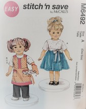 18 inch Doll Clothes Sewing Pattern, McCall 6492 - $0.00