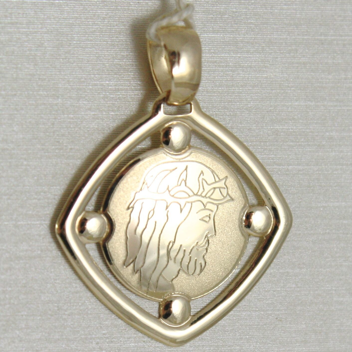 Pendant Medal Yellow Gold 375 9K, Face Christ, Rhombus, Satin, Made IN Italy