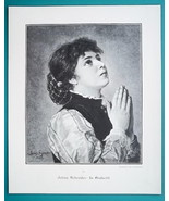 LOVELY MAIDEN Young Girls at Prayer - VICTORIAN Era Print - $13.49