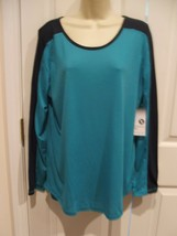 NWT  $ 26 Women xersion tile blue eclipse long sleeve    top size L  arge - $18.80