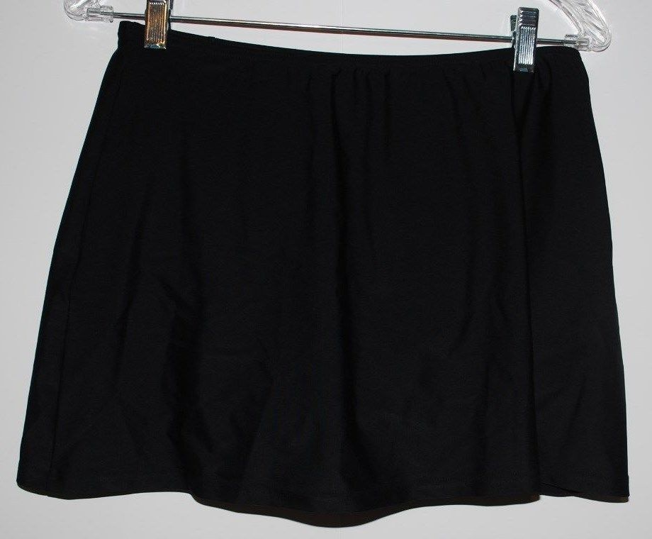 A Shore Fit Swimsuit Skirt Swimwear Bottoms Womens Size 12 Black Separates Slims