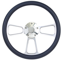 """Black Steering Wheel 14"""" Billet Muscle Style Wheel with Classic GMC Horn Button - $129.99"""