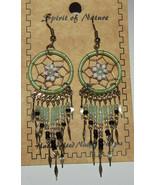 Dreamcatcher Earrings Light Green White Flower New Spirit of Nature Hand... - $13.85