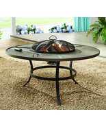 Fire Pit Table Wood Burning Round Outdoor Firepit Steel Screen & Poker F... - $141.39