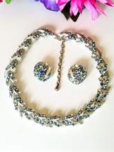 Vintage Blue AB Rhinestone Necklace and Earring Set, Brushed Silver Tone... - $48.00