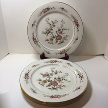 "4 Dinner Plates Noritake Asian Song Floral Gold Trim 10.5"" - $38.69"