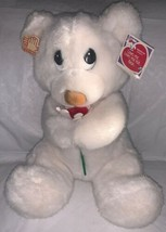 Vintage APPLAUSE WHITE BEAR RED FLOWER LOVES ME LOVES ME NOT BEAR Corey ... - $17.81