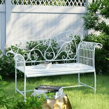 White Vintage Outdoor Bench 2 Seater Garden Patio Seating Antique Furnit... - $156.25