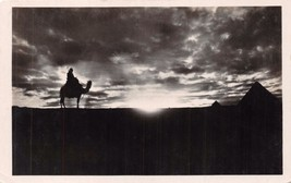 GIZA PYRAMIDS EGYPT~SUNSET SILHOUETTE~MAN ON CAMEL~ARTISTIC PHOTO POSTCARD - $6.60