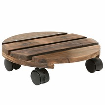 12 Inch Torched Wood Planter Caddy, Rustic Rolling Plants Dolly with Rot... - $24.01