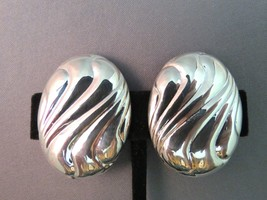 VTG FC Marked Sterling Silver Earrings Clip On Oval Bold Swirls Hollow 1... - $39.59