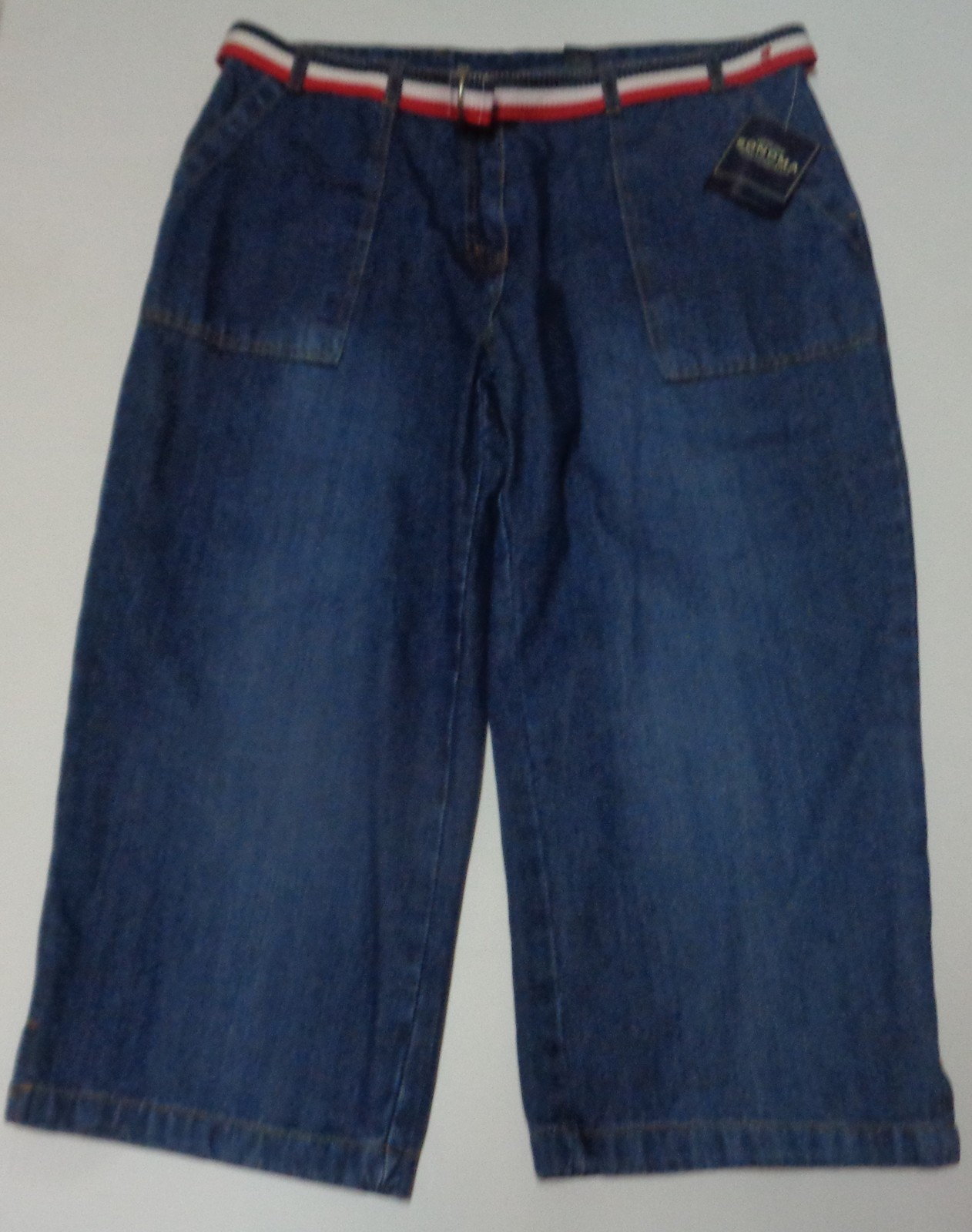 Sonoma Blue Jean Capris NWT SZ 16 Red White & Blue Belt