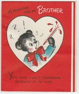 Vintage Valentine Card Dressed Bear Thermometer For Brother Hallmark 1949 - $7.91