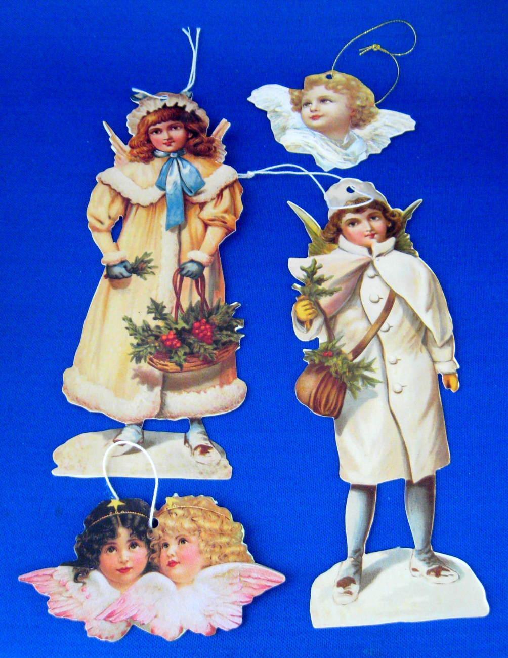 Christmas Ornaments Repro Victorian Scrap Angels