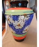Multi-colored Ceramic Vase Flower Designs Modernism Blue, Orange Green, ... - $111.37