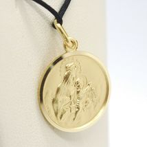 18K YELLOW GOLD SCAPULAR OUR LADY OF MOUNT CARMEL SACRED HEART MEDAL 15mm CARMEN image 5