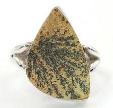 Natural Psilomelane Dendrite 925 Sterling Silver Ring Jewelry Sz 8, EA25-4 - $29.69