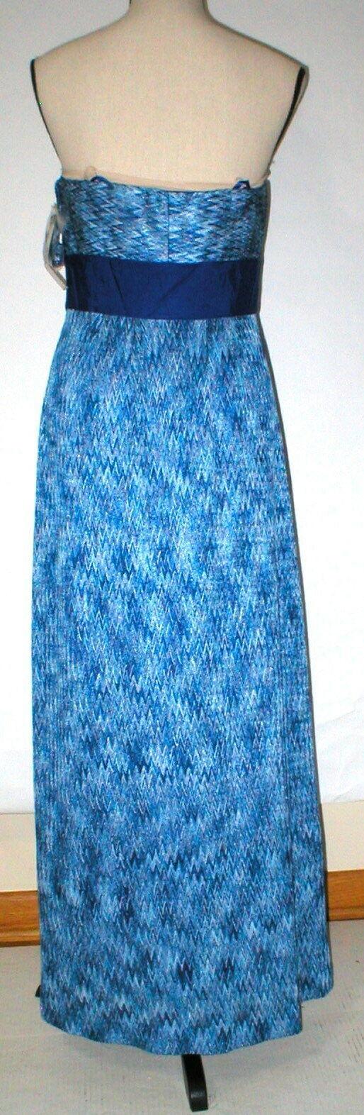 New Womens NWT Tahari Dress Sail Away Maxi Long Strapless Straps 6 Blue White