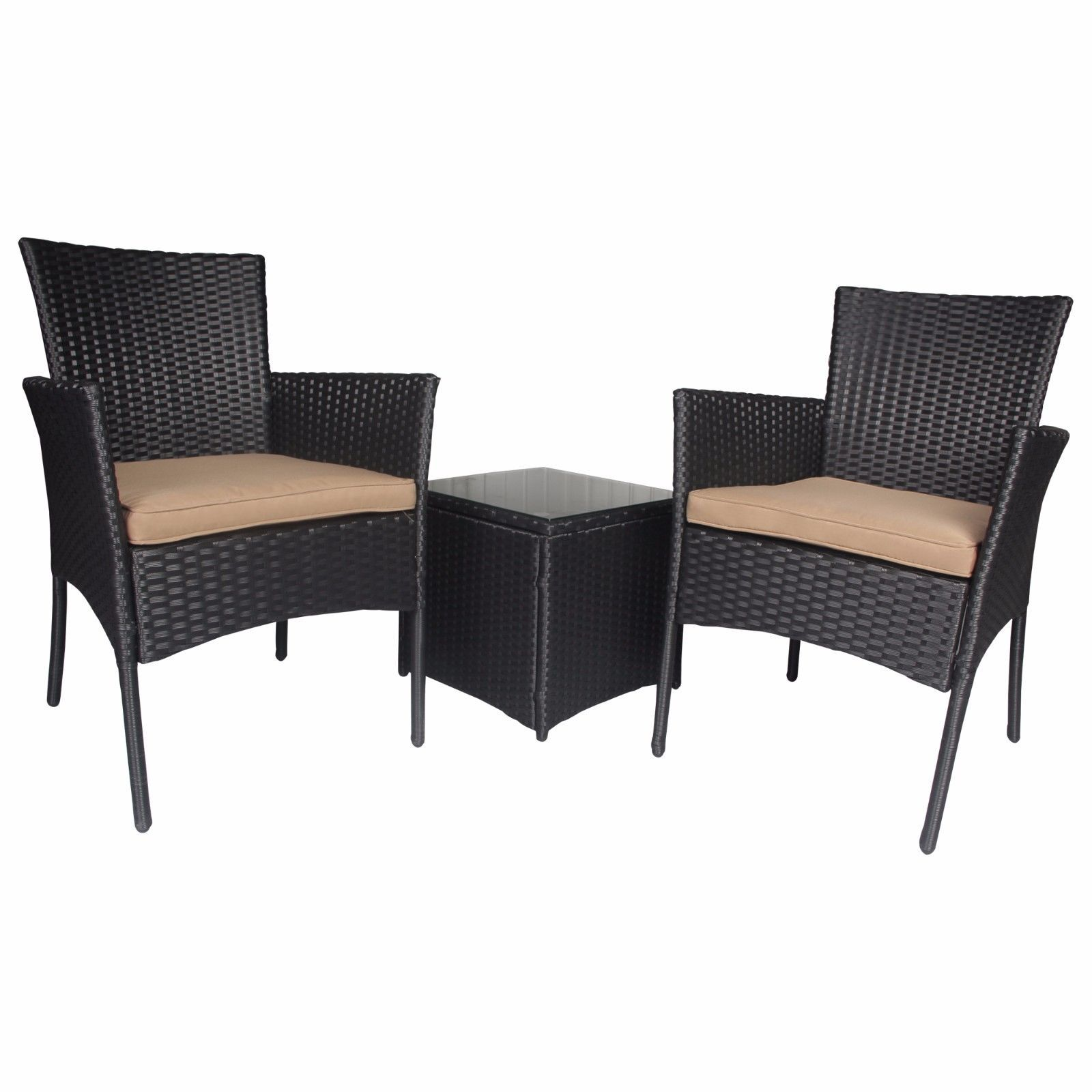 Outdoor 3 PC Bistro Sofa Table Set Wicker Conversation Sectional Furniture Patio