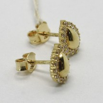 18K YELLOW GOLD EARRINGS, DROP WITH ZIRCONIA, LENGTH 9 MM, MADE IN ITALY image 2