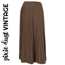 Vintage Pleated Skirt Maxi Brown Accordion Pleats 80s Size Small - $41.44