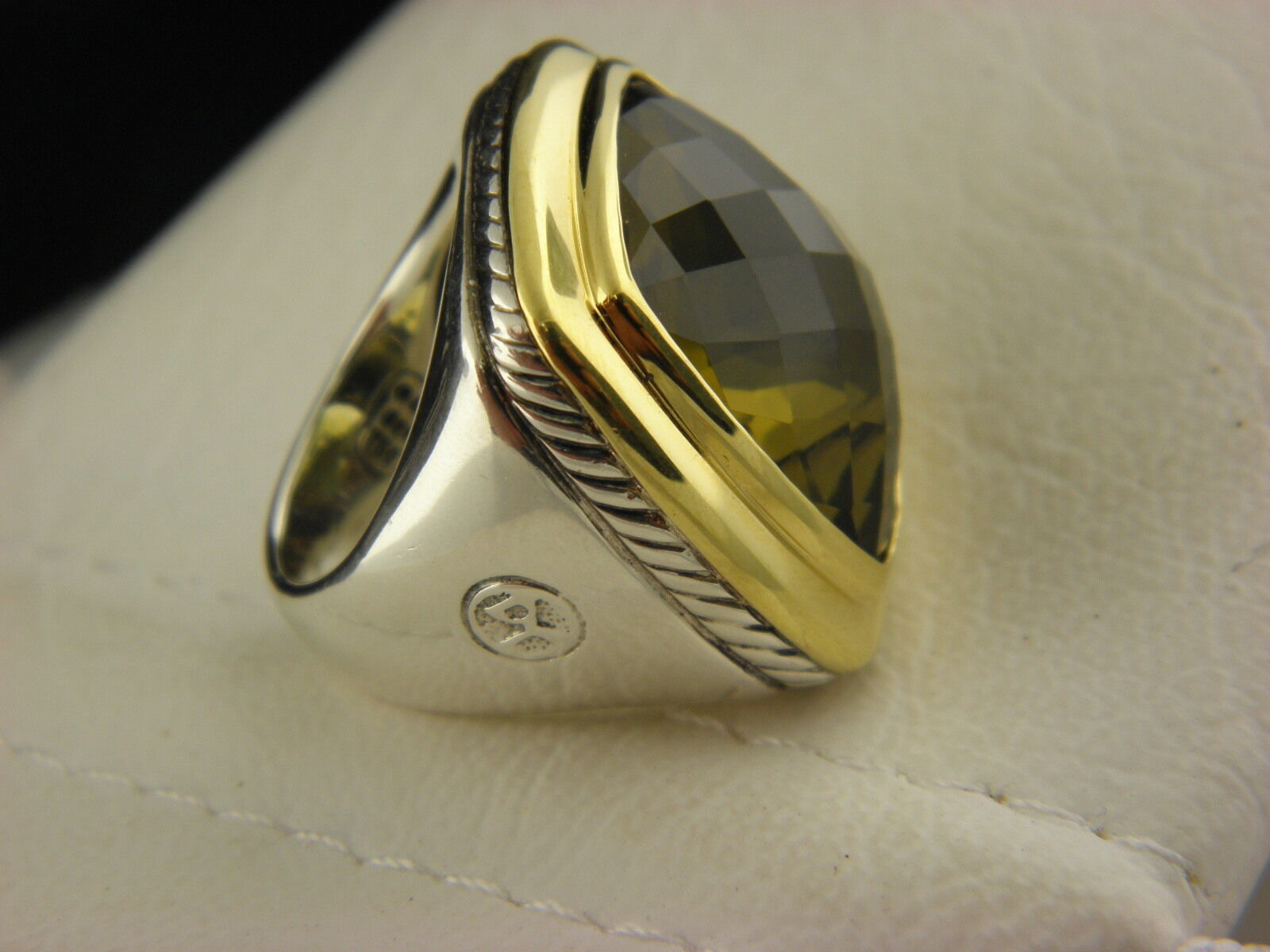 DAVID YURMAN 20 X 20  ALBION OLIVE CITRINE RING STERLING SILVER &18K GOLD.