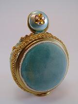 1950s Sewing Pin Cushion ornate aqua velvet free standing ROUND image 2