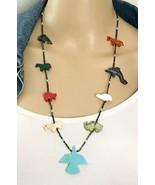 Vintage Southwestern Heishi Bead Stone Fetish Thunderbird Necklace - $67.32