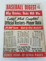 Baseball Digest Magazine April 1966 Vol. 25 No. 3 Why Orioles Reds Will Win - $6.30