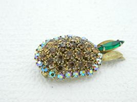 Vintage Gold Tone Topaz Green Rhinestone Pineapple Pin Brooch image 3