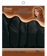 Annie Pillow Satin Rollers Cushion Hair Soft Curl Wave Black 10CT Large ... - $6.88