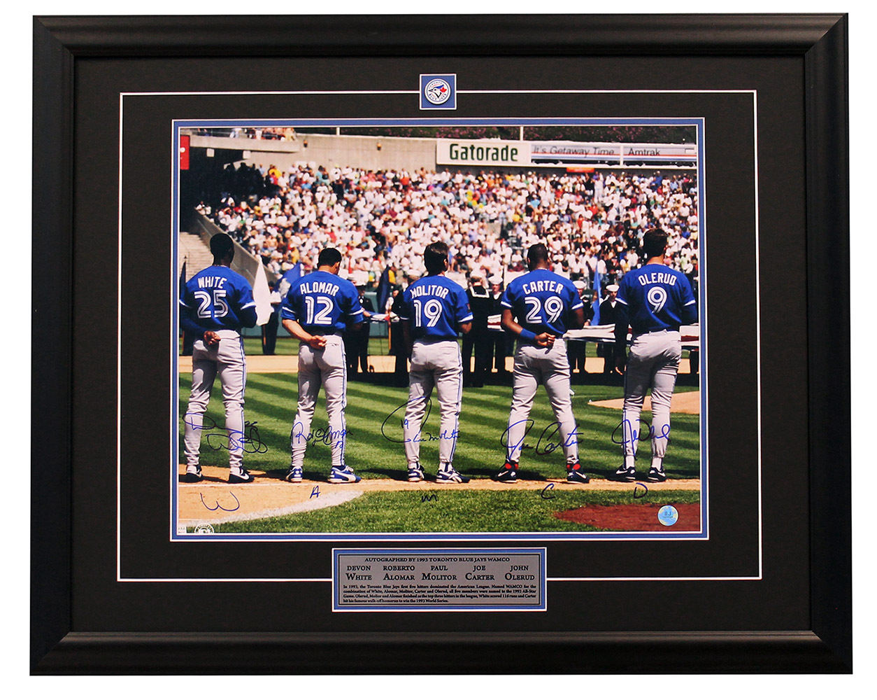 Primary image for 1993 Blue Jays Signed WAMCO White Alomar Molitor Carter Olerud 25x31 Frame